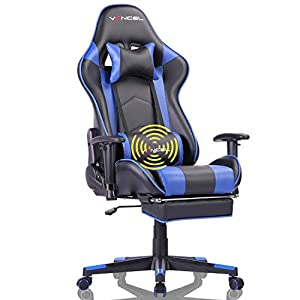 ★[HIGH QUALITY RACING CHAIR]: The strong metal frame of gaming chair designed to help promote a comfortable seated position;High Density shaping sponge,more comfort,anti-oxidation,elasticity resilience and service life;Soft smooth PU leather more com...