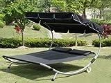 Loywe Sonnenliege Doppelliege mit Dach für 2-Personen - 2