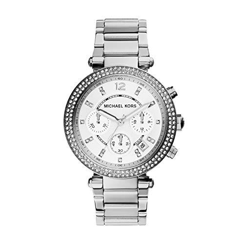 Michael Kors Damen Chronograph Quarz Uhr mit Edelstahl Armband MK5353
