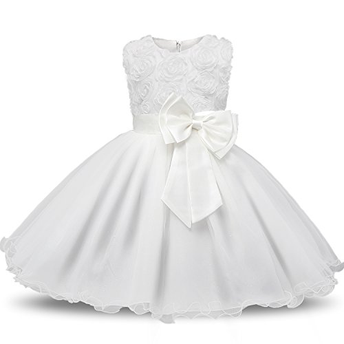 NNJXD Girl Sleeveless Lace 3D Flower Tutu Holiday Princess Dresses Size 5-6 Years White