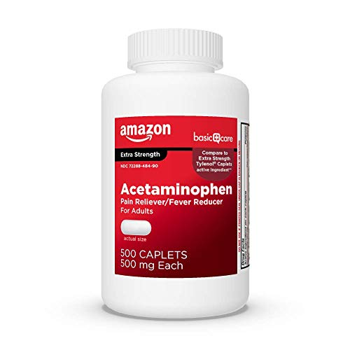 Amazon Basic Care Extra Strength Pain Relief, Acetaminophen Caplets, 500 mg, White, 500 Count (Pack of 1)