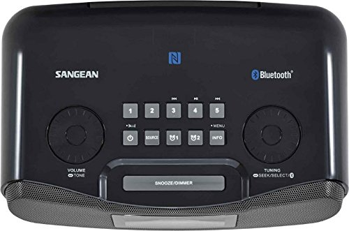 Product Image 6: Sangean RCR-20 FM-RDS (RBDS) AM / Bluetooth / Aux-in / USB Phone Charging Digital Tuning Clock Radio with Battery Backup, Black, 13.8x 13.1x 4.9