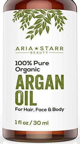 Aceite de Argán ORGÁNICO Aria Starr Beauty Para cabello, barba, piel, cara, uñas y cutículas ? El Mejor humectante certificado 100% Puro Marroquí extraído en frío, Anti envejecimiento, antiarrugas, secreto de belleza 1oz.