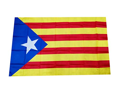 Jiahe Bandera Cataluña Independentista Estelada Blava Grande 90X150cm - Bandera Catalana Catalunya Estrella Azul