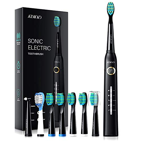 ATMOKO Electric Toothbrushes for Adults with 8 Duponts Brush Heads, 5 Modes, 4 Hour Charge for 30 Days Use, 40,000 VPM Motor, Rechargeble Power Whitening Sonic Toothbrush, Dentists Recommend