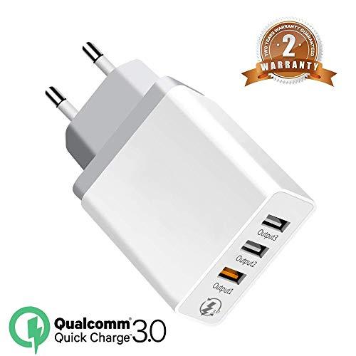 Mnioky 3 Porte Quick Charge 3.0 USB Caricatore rapido Caricabatterie,30W QC3.02.0 Smart Alimentatore USB Adattatore di Alimentazione e Ricarica Caricatore per SamsungiPhoneiPad Huawei Google (White)