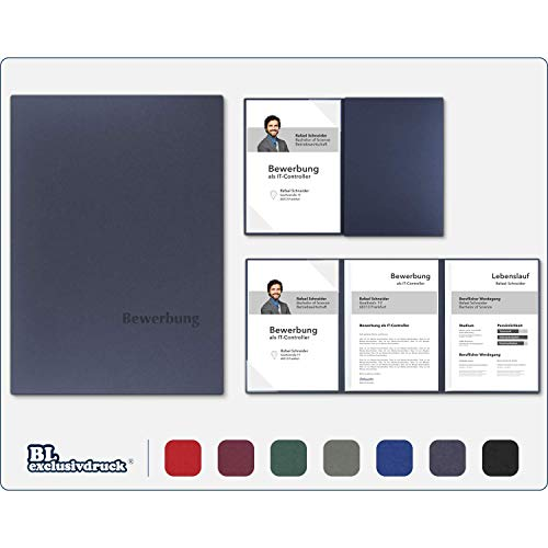 5 Stück 3-teilige Bewerbungsmappen BL-exclusivdruck® OPTIMA-plus in Marineblau - Premium-Qualität mit edler Relief-Prägung \'Bewerbung\' - Produkt-Design von \'Mario Lemani\'