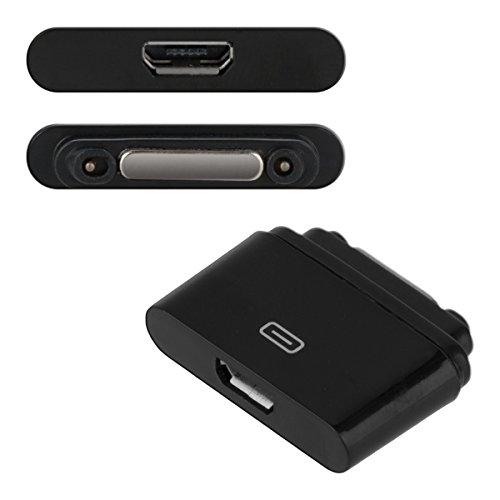 kwmobile Adaptador USB 2.0 con Puerto magnético Compatible con Sony Xperia Tablet Z2 /Xperia Z1 /Z1 Compact /Z2/Z3 en Negro