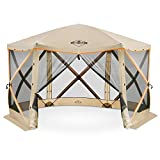 Hike Crew 6-Panel Pop-Up Screen House Gazebo 140x140 Inch – Instant Setup 6-Sided Hub Tent UV Resistant (SPF 50+) Fits 9 People Heavy Duty 210D Material – Includes Carry Bag & Ground Stakes