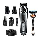 Braun Beard Trimmer for Men BT7240, Cordless & Rechargeable Hair Clipper, Detail Trimmer, Mini Foil Shaver with Gillette ProGlide Razor, Black/Silver Metal