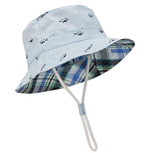 Durio Baby Hat UPF 50+ Sun Protection Baby Boy Hats Summer Cute Kids Toddler Sun Hat Cap Baby Girl Bucket Hats Blue Sun Hat 19.7'(50cm)/12-24 Months