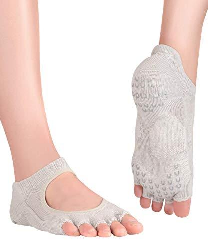 Knitido+ Kasumi, Calzini antiscivolo con dita per yoga e Pilates, Misura:39-42, Colore:grigio (15)