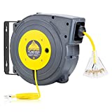 CopperPeak 50 ft Retractable Extension Cord Reel - Ceiling or Wall Mount - 14 Gauge - Yellow and Grey
