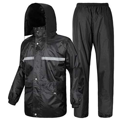 QIYUEYU Regenbekleidung Regen Hosen Set Elektroauto Motorrad Double Thick Poncho Männer und Frauen Erwachsene Split Regenmantel (Farbe : Schwarz, größe : 5XL)
