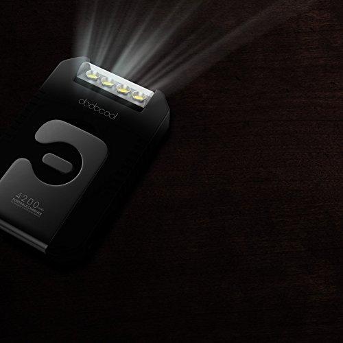 Product Image 1: dodocool Caricabatterie Solare Portatile 4200 mAh Power Bank Pacco Batteria Esterna con Torcia a 4 LED per iPhone SE / 6s / 6/6 Plus Black Dispositivo di USB 5V Carica Nero