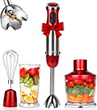 KOIOS 800W 4-in-1 Multifunctional Hand Immersion Blender, 12 Speed, 304 Stainless Steel Stick...