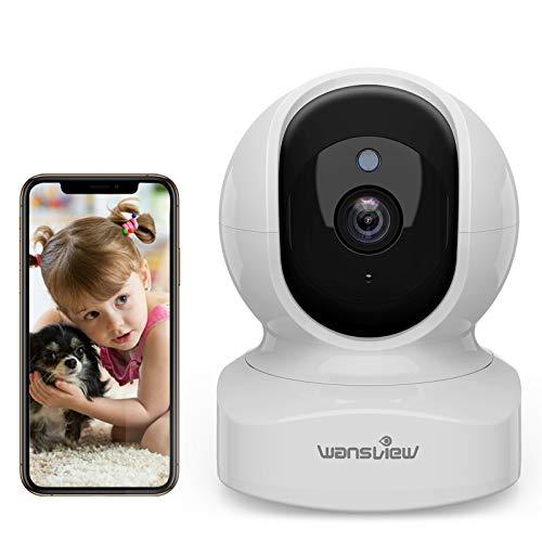 Telecamera di Sorveglianza WiFi, Wansview 1080P Videocamera IP WiFi Interno con Audio Bidirezionale e Compatibile con Alexa, Notifiche in Tempo Reale Q5 Bianco