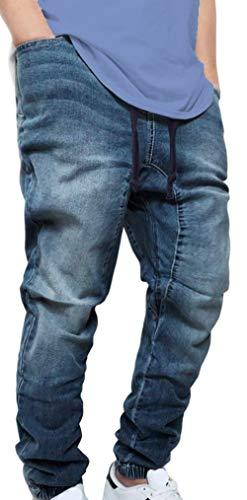 Victorious Men's DK Indigo Drop Crotch Denim Jogger Pants (3XL)