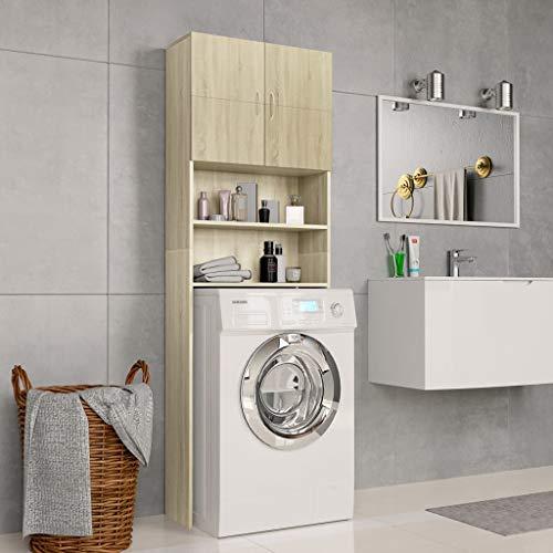 Festnight Mobile per Lavatrice Rovere, Mobiletto per Bagno in Truciolato Sonoma 64x25,5x190 cm