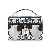 Bolsa de cosméticos con diseño de Mickey Mouse Love Minnie, portátil, bolsa de viaje, organizador de cosméticos, multifunción, bolsa de almacenamiento