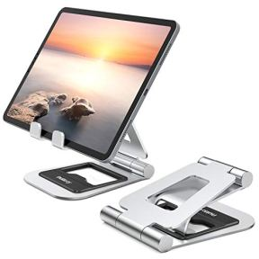 Nulaxy-A5-Tablet-Stand-Fully-Foldable-Tablet-Holder-Stand-Compatible-with-iPad-Pro-129105-97-Air-Mini-4-3-2-iPhone-11-pro-Xs-Max-Xr-X-Kindle-Nexus-Tab-E-Reader-47-13-Silver