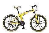 Ibiky 26' MTB Folding Dual Suspension 21 Speed Gears Mountain Bike (Yellow)