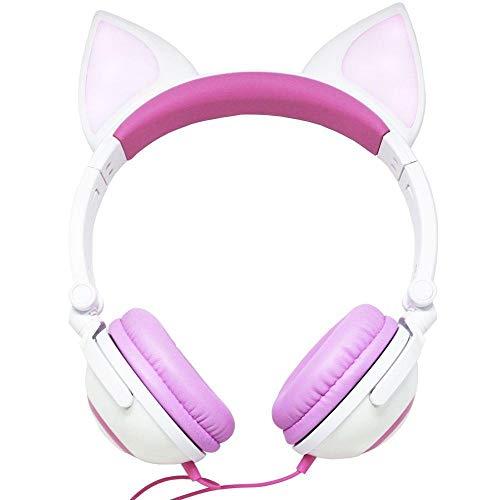 Fone de ouvido com orelhinhas de gato com iluminação led pisca cosplay design fox p2 branco