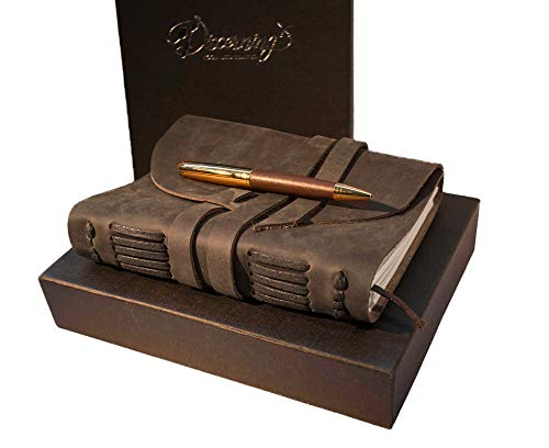 BEST LEATHER JOURNAL GIFT SET - for women men - UNIQUE SOFT ROLL UP vintage LUXURY medium UNLINED 7 x 5 notebook, antique PEN & BOX - FOR TRAVEL WRITING DIARY/ART SKETCHBOOK him her