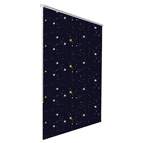 Klemmfix Verdunkelungsrollo für innen ohne Bohren :: Rollos für Fenster, blickdicht und lichtundurchlässig 100x150 cm Sterne