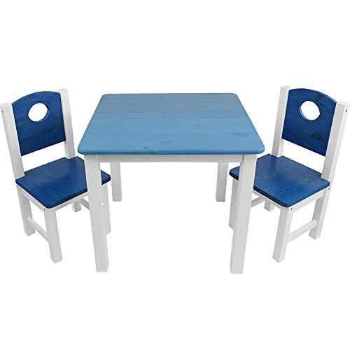 Kinder-Sitzgruppe - Kinderzimmer Set: 1 Tisch und 2 Stühle - top Möbel-Qualität aus Kiefer Massivholz - Kindertisch und Kinderstühle für Jungen und Mädchen, Farbe:Blau