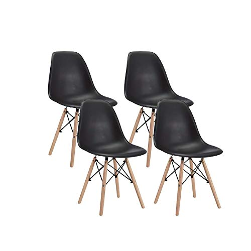 CangLong Modern Mid-Century Shell Lounge Plastic DSW Natural Wooden Legs for Kitchen, Dining, Bedroom, Living Room Side Chairs, Set of 4, Black