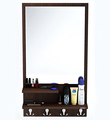BLUEWUD Rico Wall Hanging Dressing Table/Mirror with Multifunctional Shelves, and Hanging Hooks (Wenge)