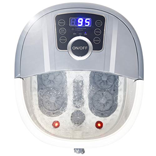 COSTWAY Foot Spa/Bath Massager, with Shiatsu Roller Massage, Heat, Frequency Conversion, Red Light, Adjustable Time & Temperature, Air Bubble, LED Display, Drainage Pipe (Gray)
