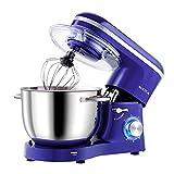 Aucma Küchenmaschine Knetmaschine 1400W, 6.2L Reduzierte Geräusche Knetmaschine mit Rührbesen, Knethaken, Schlagbesen und Spritzschutz, 6 Geschwindigkeit mit Edelstahlschüssel Teigmaschin(Königsblau)