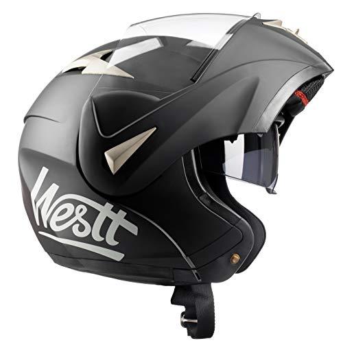Westt Torque - Klapphelm Integralhelm Motorradhelm Doppelvisier Matt Schwarz - Roller Helm - ECE Zertifiziert
