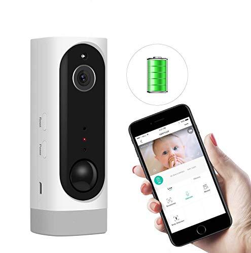 Openuye Videocamera di Sorveglianza, Telecamera di Sicurezza IP Ricaricabile 720P con Batteria Incorporata e Rilevamento del Movimento PIR, Visione Notturna, LED a Infrarossi, Audio Bidirezionale