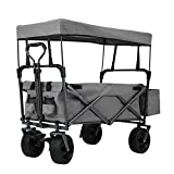 EXTEC Folding Stroller Wagon Collapsible with Canopy Outdoor Sport Baby Trolley Garden Utility Shopping Travel Beach Wagon/Cart - Free Carrying Bag - Easy Setup NO Tool Needed (Grey)