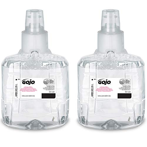 GOJO Clear & Mild Foam Handwash, EcoLogo Certified, 1200 mL Foam Hand Soap Refill for GOJO LTX-12 Touch-Free Dispenser (Pack of 2) - 1911-02