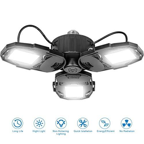 80W LED Garage Lights, Deformable Garage Light with 3 Adjustable Wings, 8000LM, E26 LED Shop Light, Barn Light, High Bay Light, Ceiling Lighting Fixture for Warehouse (No Motion Detection)