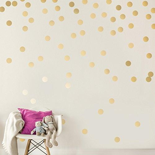 Easy Peel + Stick Gold Wall Decal Dots - 2 Inch (200 Decals) -...