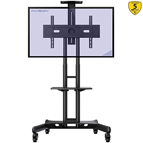 Invision Supporto TV da Pavimento con Ruote Carrello Staffa Porta Mobile Stand Orientabile per...