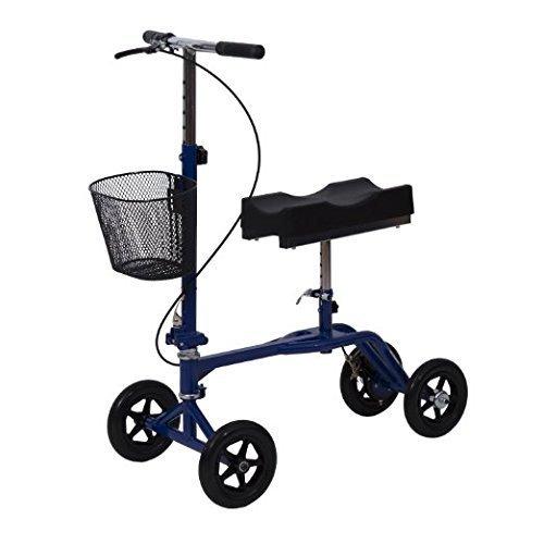 HomCom Steerable Knee Walker Scooter w/Basket - Blue