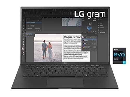 """LG Gram 14Z90P, Display 14"""" Full HD 16:10 IPS, 1920x1200, Intel Core i5-1135G7, RAM 8GB DDR4, SSD 512GB, Intel Iris Xe, Batteria 72Wh, Thunderbolt4, Win10 PRO, Tastiera Italiana, Peso 999g, Black"""