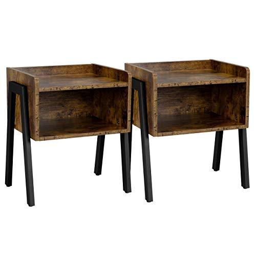 Yaheetech Set di 2 Comodino Impilabile Stile Industriale Set 2 Tavolino Lato da Divano Vintage con Scomparto, Comodini Struttura in Metallo da Salotto, Tavolini Marrone Rustico 46 x 33 x 53 cm