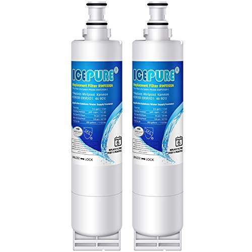 ICEPURE 4396508 Refrigerator Water Filter Replacement for EveryDrop Filter 5, EDR5RXD1, Whirlpool 4392857, NL300, 4396510, 4396509, 4396547, LC400V, 4396510p, WF-NLC240V,PNL240V, 2PACK