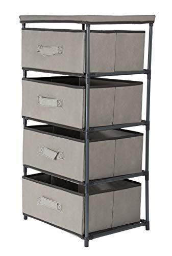 Juvale 4-Tier Dresser Drawer Organizer, Storage Bins (16.5 x 13 Inches, Light Gray)