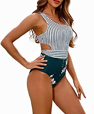 【Superior Fabric】 The one piece swimsuits for women are made of 80% nylon and 20% spandex, which is soft quick-drying fabric. Smooth, stretchy, comfortable and durable for long time wearing. 【Unique Design】 The high waisted swimsuit combines a yellow...