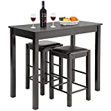 Dining Table Set 3 Pcs Dining Set Bar Dining Table and Chairs Set with 2 Faux Leather Bar stools Bar Kitchen Counter with Bar Chairs Kitchen Living Room Party Room for Small Spaces, Brown