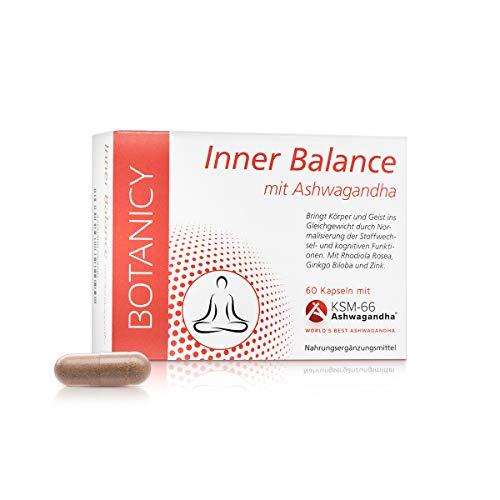 INNER BALANCE, mit Ashwagandha KSM-66, gegen Stress und innere Unruhe, mit Ginkgo Biloba, Folsäure und Zink, für mentales Gleichgewicht (60 Kapseln, Monatspack)