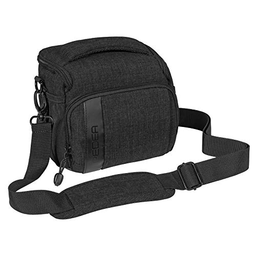 """PEDEA DSLR-Kameratasche \""""Fashion\"""" Fototasche für Spiegelreflexkameras mit wasserdichtem Regenschutz, Tragegurt und Zubehörfächern (Größe L, schwarz)"""